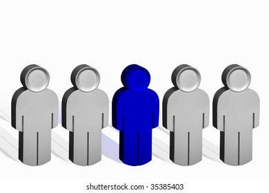 Business Concept ,metal 3D people standing in a Line with One person Standing out from the crowd.