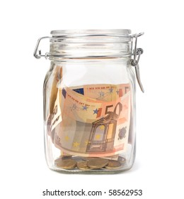 Business concept. Money savings in glass pot.