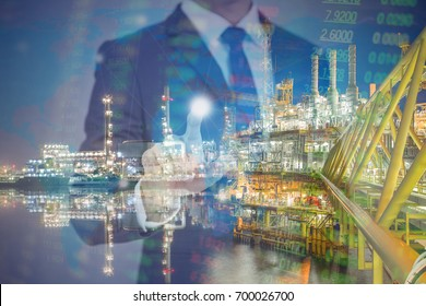 A business concept of oil and gas investment with onshore refinery and offshore gases and crude processing platform, World power and Energy invest.