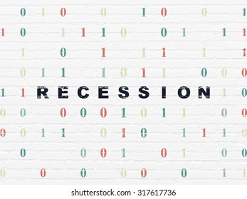 Business concept: Painted black text Recession on White Brick wall background with Binary Code