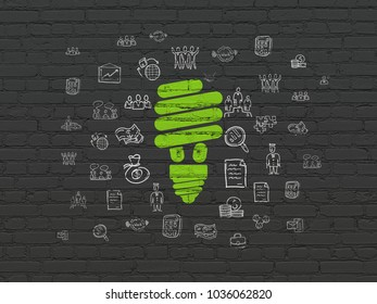 Business concept: Painted green Energy Saving Lamp icon on Black Brick wall background with  Hand Drawn Business Icons