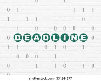 Business concept: Painted green text Deadline on White Brick wall background with Binary Code