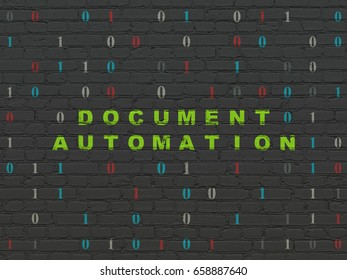 Business concept: Painted green text Document Automation on Black Brick wall background with Binary Code