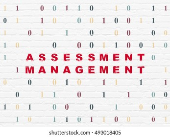 Business concept: Painted red text Assessment Management on White Brick wall background with Binary Code