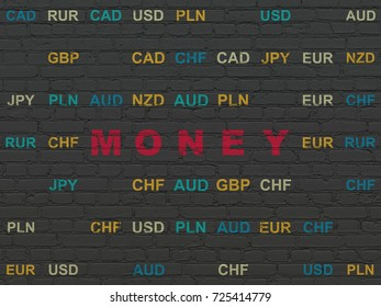 Business concept: Painted red text Money on Black Brick wall background with Currency