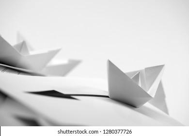 business concept with paper boats