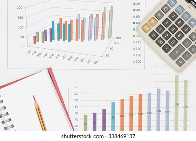 Business concept : Pencil placed on notebook and calculator on graph background.