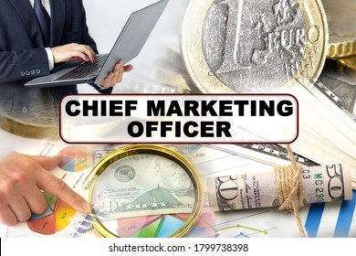 Business concept. Photo collage of photographs on financial topics, the inscription in the center - CHIEF MARKETING OFFICER