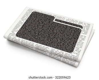 Business concept: Pixelated black Folder icon on Newspaper background