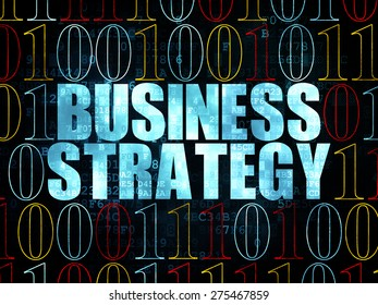 Business concept: Pixelated blue text Business Strategy on Digital wall background with Binary Code, 3d render