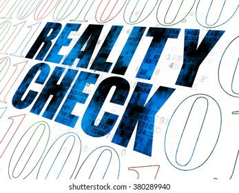 Business concept: Pixelated blue text Reality Check on Digital wall background with Binary Code