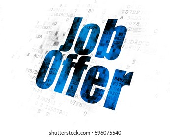 Business concept: Pixelated blue text Job Offer on Digital background