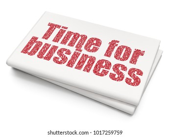Business concept: Pixelated red text Time for Business on Blank Newspaper background, 3D rendering