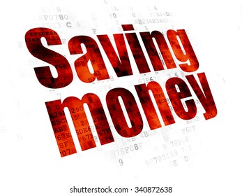 Business concept: Pixelated red text Saving Money on Digital background
