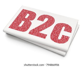 Business concept: Pixelated red text B2c on Blank Newspaper background, 3D rendering