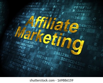 Business concept: pixelated words Affiliate Marketing on digital background, 3d render