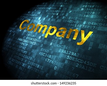 Business concept: pixelated words Company on digital background, 3d render