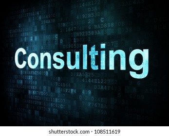 Business concept: pixelated words Consulting on digital screen, 3d render