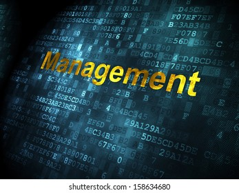 Business concept: pixelated words Management on digital background, 3d render