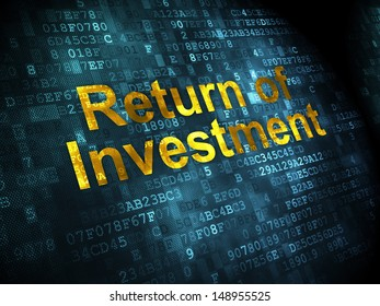Business concept: pixelated words Return of Investment on digital background, 3d render