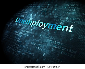 Business concept: pixelated words Unemployment on digital background, 3d render
