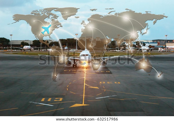 Business concept, Business planning with Airplane on runway at the airport