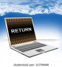 Business Concept Present by Computer Laptop With Silver Return Text and Orange Dollar Sign Wallpaper Against The Blue Sky Background