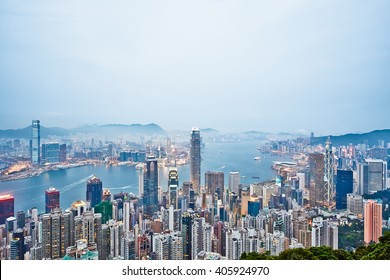 Business concept for real estate and corporate construction - panoramic modern city skyline bird eye aerial view with night sky in Hong Kong (HK), China