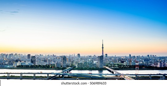 Business concept for real estate corporate construction - panoramic modern city skyline bird eye aerial night view with tokyo skytree under dramatic glow and beautiful dark blue sky in Tokyo, Japan