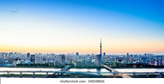 Business concept for real estate corporate - panoramic modern city skyline bird eye aerial night view under dramatic glow and beautiful dark blue sky in Tokyo, Japan. Miniature Tilt-shift effect