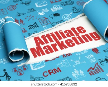 Business concept: red text Affiliate Marketing under the curled piece of Blue torn paper with  Hand Drawn Business Icons, 3D rendering
