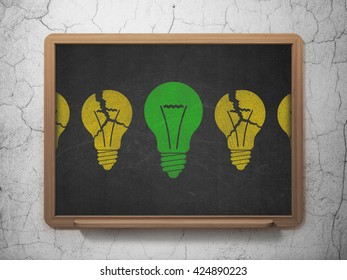 Business concept: row of Painted yellow light bulb icons around green light bulb icon on School board background, 3D Rendering