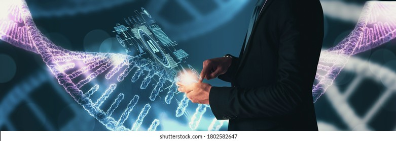 Business concept science human development,and health,DNA analysis,search for talent,strength and character people,businessman use smartphone DNA testing modern technology,with artificial intelligence