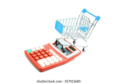 Business concept. shopping concept - trolly and calculator