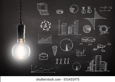 Business concept - sketch with schemes and graphs on chalkboard