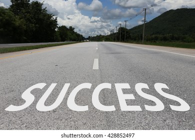 business concept of success on the road