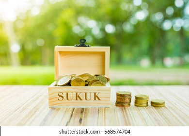 "Business Concept : ""SUKUK"" word on box over blur and sunlight background."