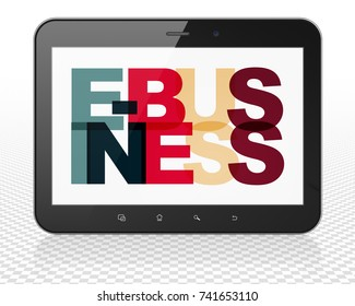 Business concept: Tablet Pc Computer with Painted multicolor text E-business on display, 3D rendering