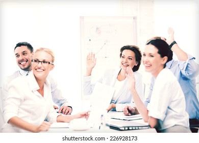 business concept - business team having meeting in office