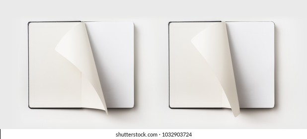 Business concept - Top view collection of black hardcover notebook, white open & flip curl rolled page isolated on background for mockup