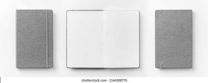 Business concept - Top view collection of  grey notebook front, back and white open page isolated on background for mockup