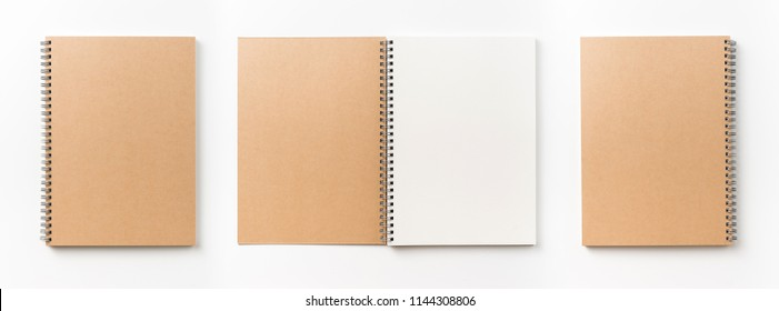 Business concept - Top view collection of  spiral kraft notebook front, back and white open page isolated on background for mockup - Shutterstock ID 1144308806