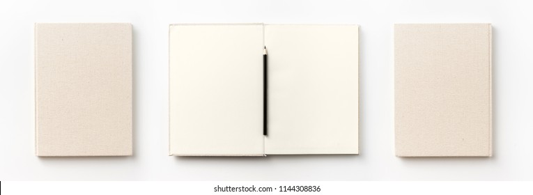 Business concept - Top view collection of  light yellow fabric notebook front, back , pen and white open page isolated on background for mockup