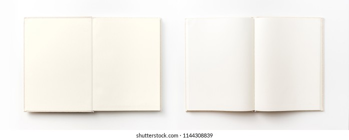 Business concept - Top view collection of  light yellow fabric notebook white open page isolated on background for mockup
