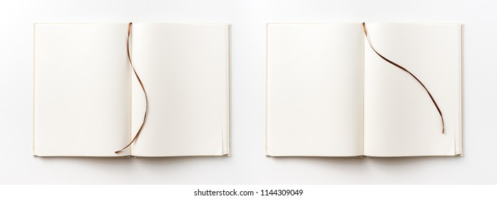Business concept - Top view collection of  light yellow fabric notebook brown curve band and white open page isolated on background for mockup