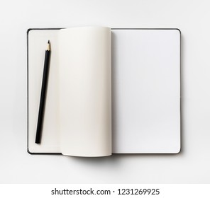 Business concept - Top view collection of black fly black notebook white open page, pen isolated on background for mockup