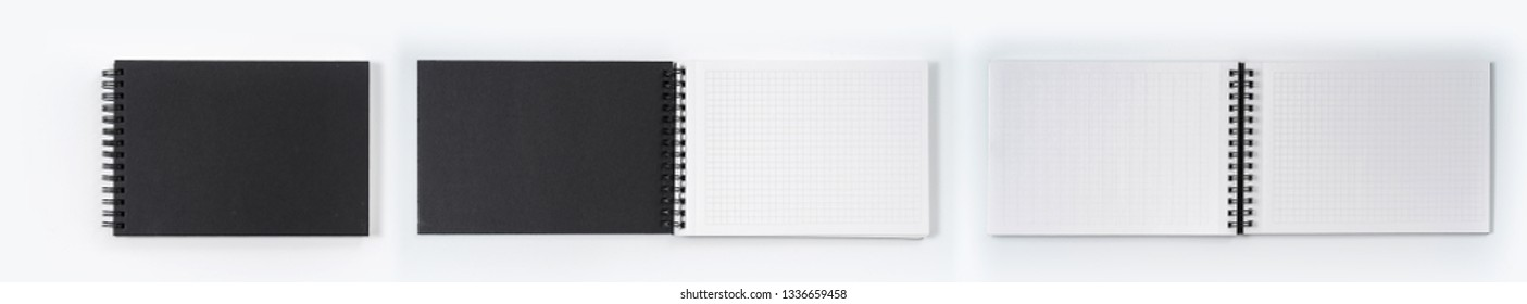 Business concept - Top view collection of black notebook on white background desk for mockup
