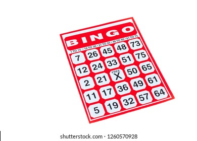 Business Concept : Top view of empty red bingo card sheet isolated on white background. (Selective focus)