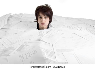 business concept woman drowning in paperwork