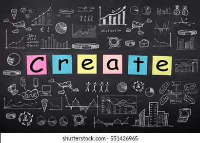 Business concept - word ' Create', sketch with schemes and graphs on chalkboard
